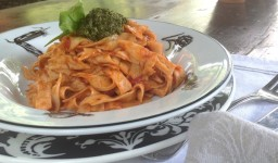 Fettucini with tomato:pesto copy
