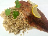 Filet of Herbed Breaded Fish with Wild Rice