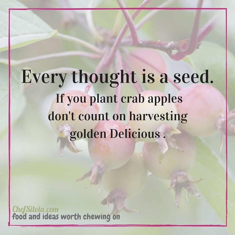 Every thought is a seed. If you plant crab apples don't count on harvesting golden Delicious .