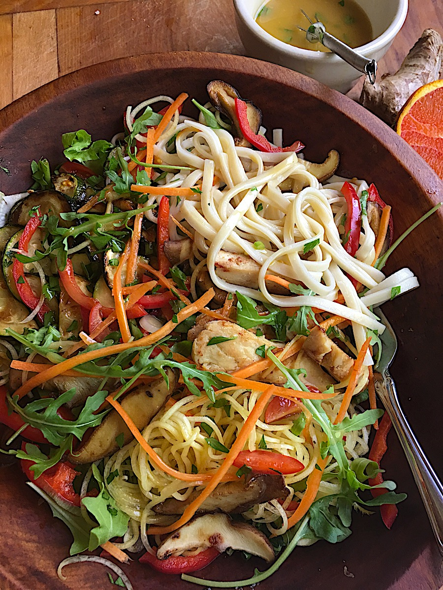 Asian Chicken Salad with Udon Noodles